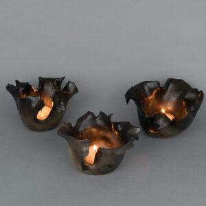 Dawson Morgan Set of Three CandleHolders Raku Small Round 5x5x3