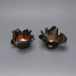 Dawson Morgan Pair Candle Holder Raku Small Dramatic 5x5x3