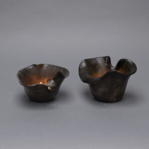 pair_candle-holder_raku_smoke_round_small_elegant_5x5x3-5