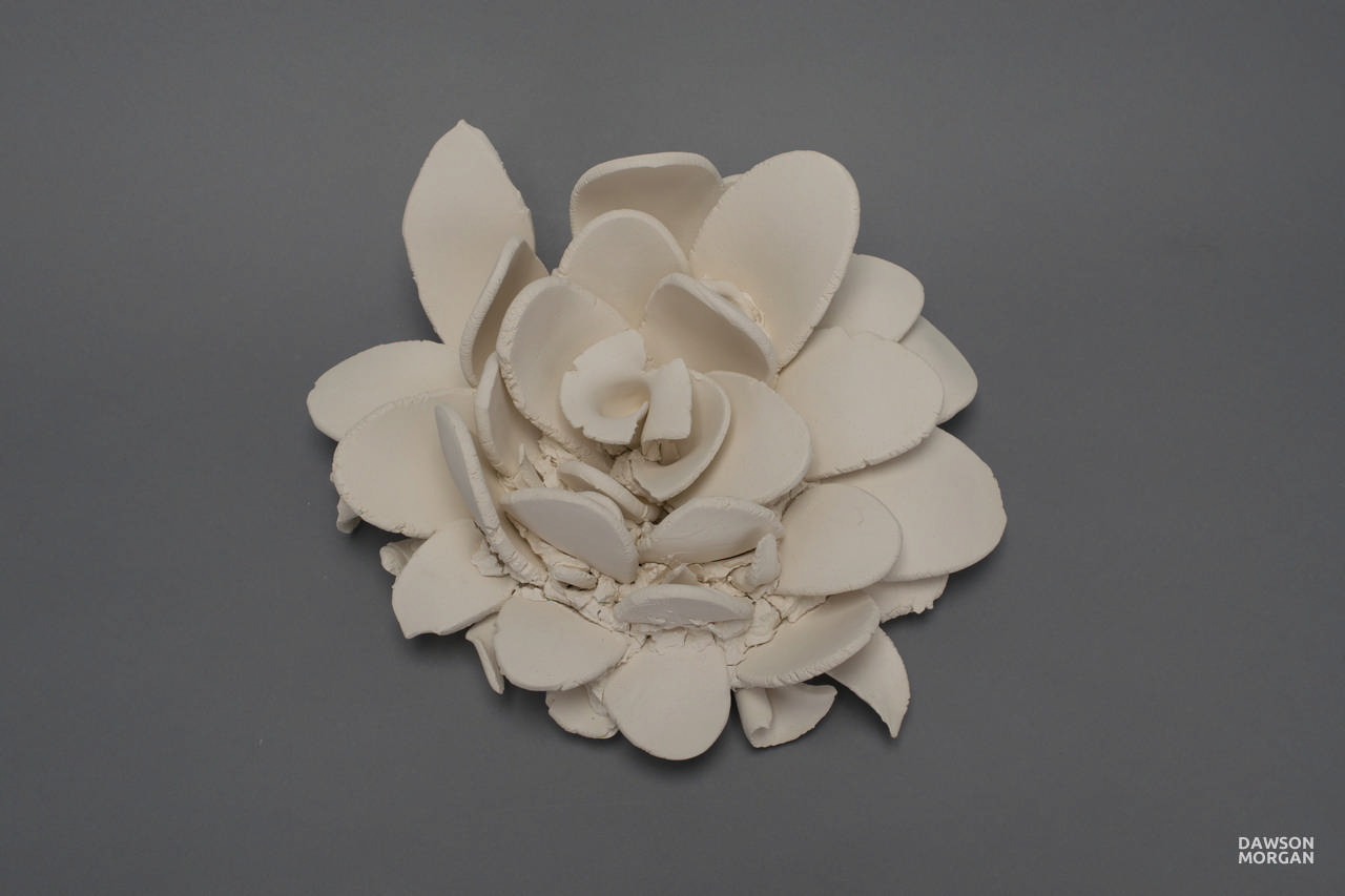Dawson Morgan Wall Flower White Unglazed Small 11x10x5